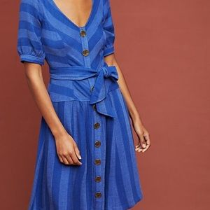 Maeve by Anthropologie Blue Button Dress
